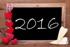 Eine Chalkbord-, Roten und Gelbenherzen, 2016 Lizenzfreies Stockfoto