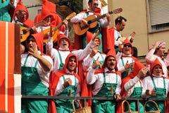 Eine Chorleistung der Straße, Karneval von Cadiz, Andalusien, Spaina Lizenzfreies Stockbild