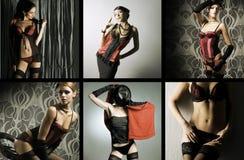 Eine Collage der Art und Weisebilder mit jungen Frauen Stockfoto