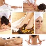 Eine Collage der Badekurortbehandlungbilder mit einer Frau Stockfotografie