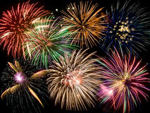 Eine Collage der Feuerwerke Stockfotos