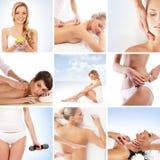 Eine Collage der jungen Frauen auf Badekurortprozeduren Stockbilder