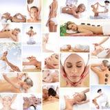Eine Collage der jungen Frauen auf Badekurortprozeduren Stockbild
