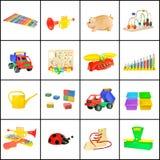 Eine Collage der Spielwaren der Kinder Lizenzfreie Stockfotografie