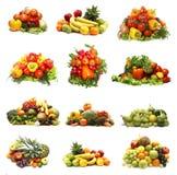 Eine Collage vieler verschiedenen Obst und Gemüse Stockbild