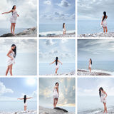 Eine Collage von Bildern mit jungen Frauen auf dem Meer Stockfotografie