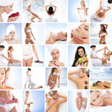 Eine Collage von Bildern mit jungen Frauen im Badekurort Stockbild