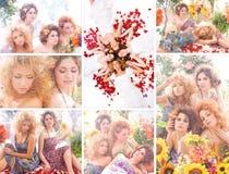 Eine Collage von Bildern mit jungen Frauen mit Blumen Stockbilder