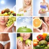 Eine Collage von Bildern mit jungen Frauen und Früchten stockfoto