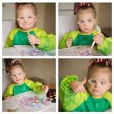 Eine Collage von Fotos des Mädchens mit Down-Syndrom, das Farben zeichnet lizenzfreies stockbild