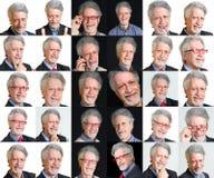 Eine Collage von Gesichtern von Männern mit verschiedenen Ausdrücken Lizenzfreie Stockfotos