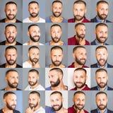 Eine Collage von Gesichtern von Männern mit verschiedenen Ausdrücken Stockbild