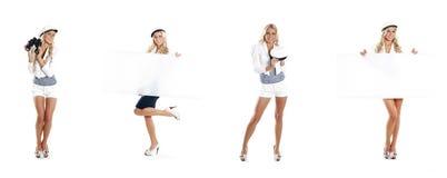 Eine Collage von jungen Frauen im Seemann kleidet auf Weiß Lizenzfreie Stockbilder