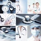 Eine Collage von medizinischen Arbeitskräften und von medizinischen Werkzeugen Stockfotos