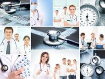 Eine Collage von medizinischen Arbeitskräften und von medizinischen Werkzeugen Stockbilder