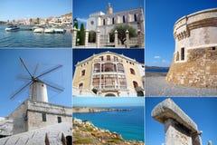 Eine Collage von Menorca-Insel, Spanien Lizenzfreie Stockbilder