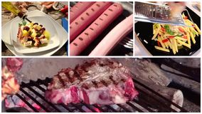 Eine Collage von verschiedenen Lebensmitteltellern stock footage