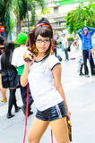 Eine cosplay Haltung des nicht identifizierten japanischen Anime. Stockfotografie