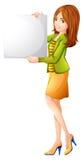 Eine Dame, die einen leeren Signage hält Stockbilder