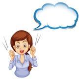 Eine Dame, die mit einem leeren Hinweis spricht Lizenzfreie Stockbilder