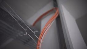 Eine Detailansicht von den grauen und orange elektrischen Kabeln, die innerhalb einer Wandeinschließung in den Spiralen und in de stock video footage