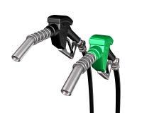 Eine Diesel- und eine Benzinpumpendüse Stockbilder