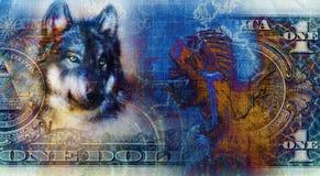 Eine Dollarcollage mit indischem Frauenkrieger und Wolf, Verzierungshintergrund Stockbild
