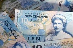 Eine Dollarmünze, die zwei ikonenhafte Neuseeland-Symbole - der Kiwivogel und die Blätter des silbernen Farns kennzeichnet Lizenzfreie Stockfotografie