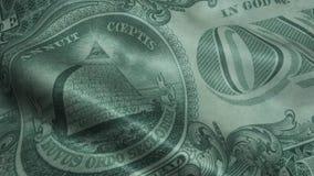 Eine Dollarnahaufnahme US wellenartig bewegen ein Dollarschein-Nahaufnahmemakro 1 usd Banknote