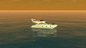 Eine Draufsicht eines Bootes im orange Ozean stock footage