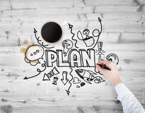 Eine Draufsicht eines Tasse Kaffees und der Hand, die eine Skizze des Entwickelns eines neuen Unternehmensplans zeichnet Lizenzfreie Stockfotografie