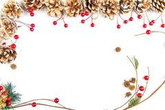Eine Draufsicht eines Weihnachten verziert: Kiefernkegel und -niederlassung mit Beeren stockfotos