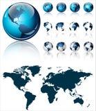Eine dunkelblaue Weltkarte 3d auf glänzendem Ikonendesign mit vier verschiedenen Ansichten Lizenzfreie Stockfotografie