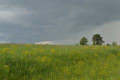 Eine dunkle Wolke über einem grünen Hügel Stockbilder