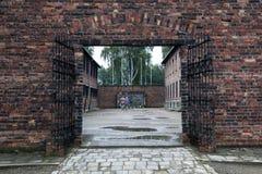 Eine Durchführungswand an Auschwitz--Birkenaukonzentrationslager in Oswiecim in Polen Lizenzfreie Stockbilder