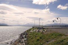 Eine Ehrerbietung zum Wind in Puerto Natales im Patagonia, Chile Lizenzfreies Stockfoto