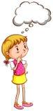 Eine einfache farbige Skizze eines Mädchendenkens Lizenzfreies Stockfoto