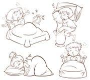 Eine einfache Skizze von den Kindern, die früh schlafen und aufwachen Stockfotografie
