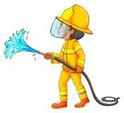 Eine einfache Zeichnung eines Feuerwehrmanns Stockbilder