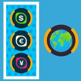 Eine Einheit des Weltmajors-Bargeld Dollars, Yen, Euro Stockfotografie