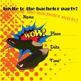 Eine Einladung an eine Jungesellen-Party im Stil der Comics stock abbildung