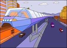 Eine Einschienenbahn bewegt sich über die Straße Lizenzfreie Abbildung