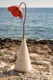 Eine einzelne Mohnblume durch den Strand Lizenzfreie Stockbilder