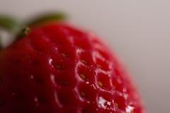 Eine einzelne, rote, organische Erdbeere Stockfotos
