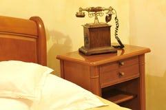 Eine einzelnes Bett- und Nachtlampe Stockfotografie
