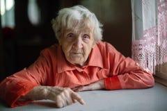 Eine einzige ältere Dame, die nahe dem Fenster in der Küche sitzt lizenzfreies stockbild