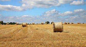 Eine englische ländliche Landschaft mit Feld der goldenen Weizenstoppel und der runden Heuballen Lizenzfreie Stockfotografie