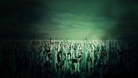 Eine enorme Armee-Menge von den mittelalterlichen Kriegern, die für Krieg durch das Zujubeln und das Marschieren sich vorbereiten stock abbildung