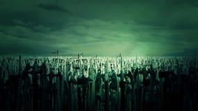 Eine enorme Armee-Menge von den mittelalterlichen Kriegern, die für Krieg durch das Zujubeln und das Marschieren sich vorbereiten lizenzfreie abbildung