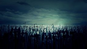 Eine enorme Armee-Menge von den mittelalterlichen Kriegern, die für Krieg durch das Zujubeln und das Marschieren sich vorbereiten vektor abbildung